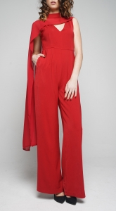 V-neck & Scarf Jumpsuit